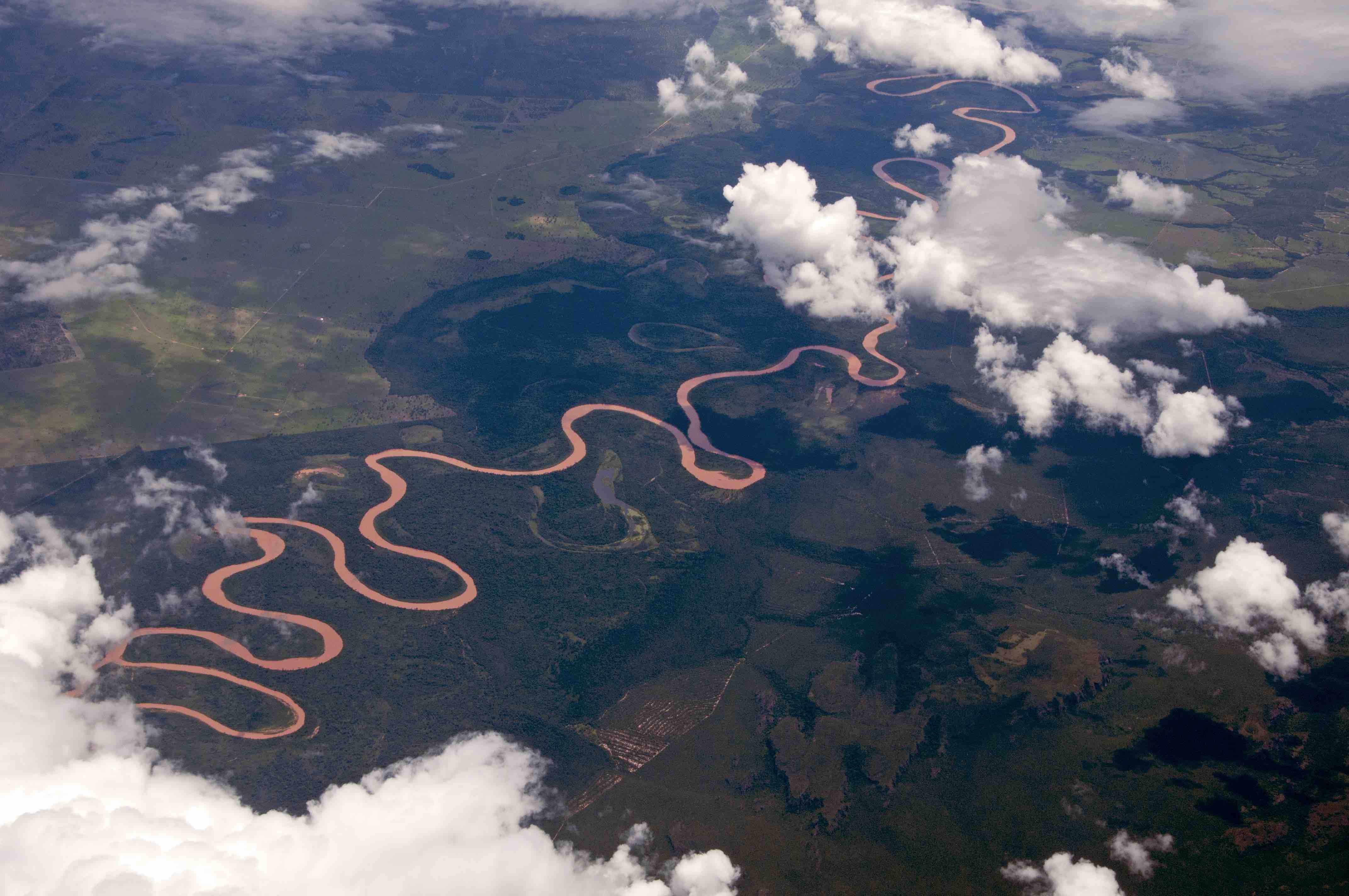 Foto aérea de rio serpenteando no estado do Amazonas.