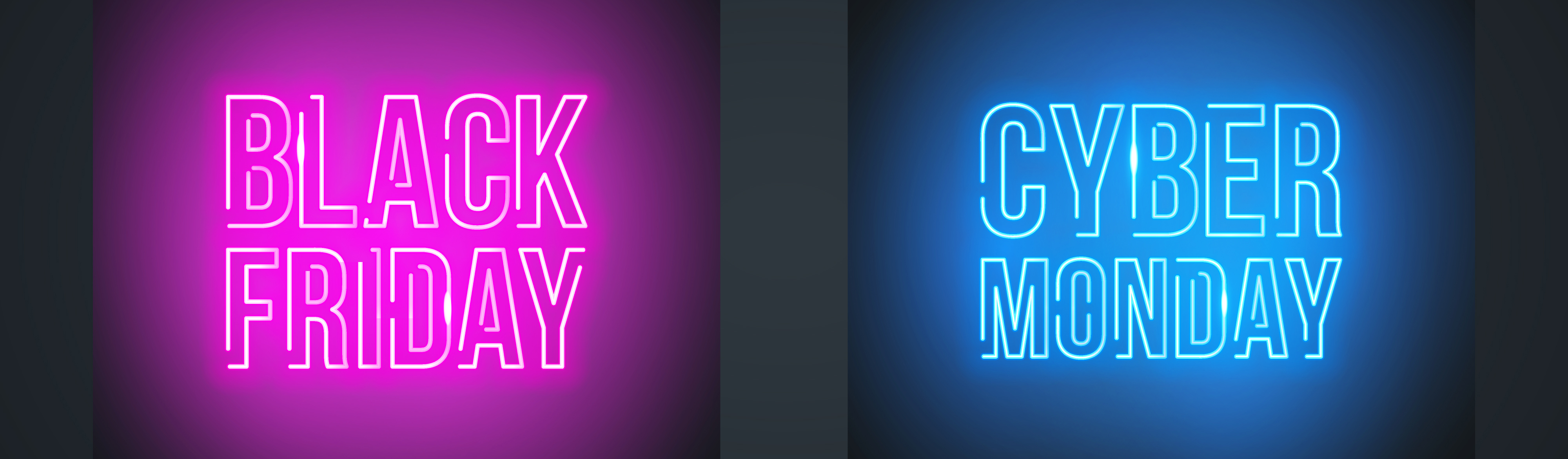Neon light signs that say Black Friday and Cyber Monday