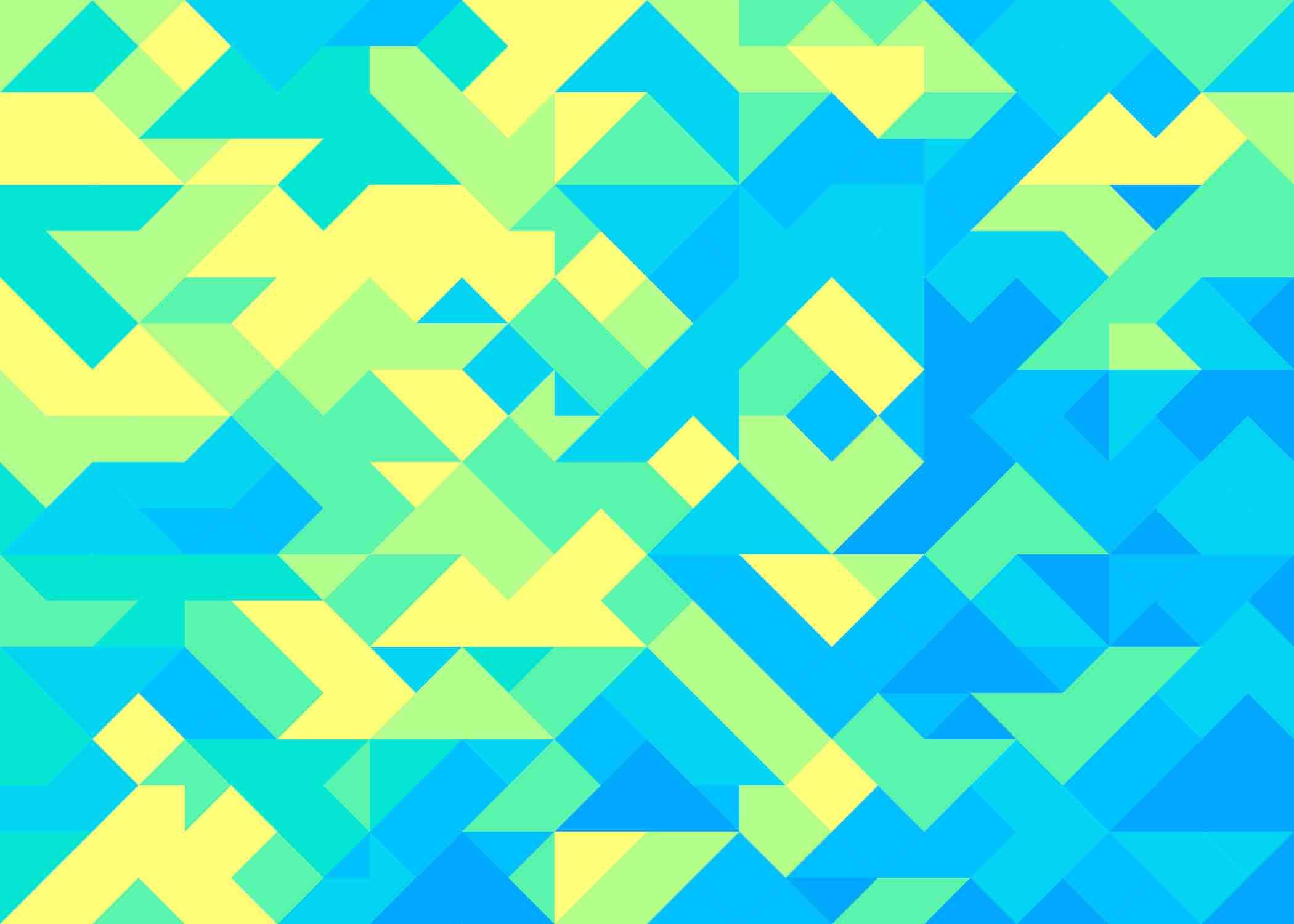 Formas geométricas com cores verde, amarelo e azul.