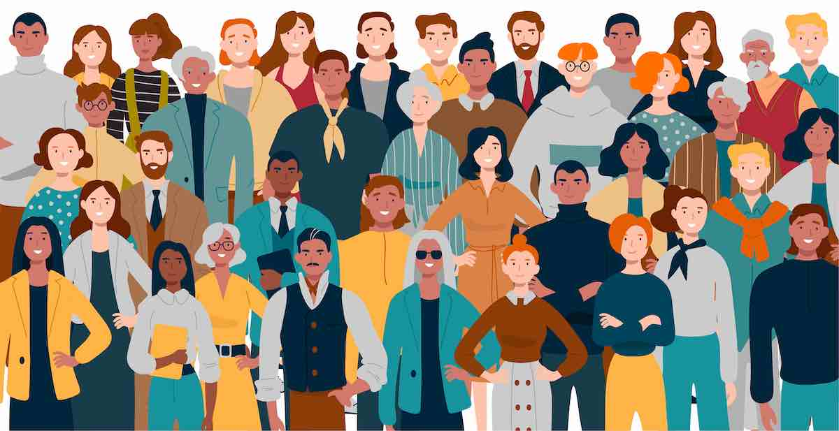Ilustração de pessoas diferentes.