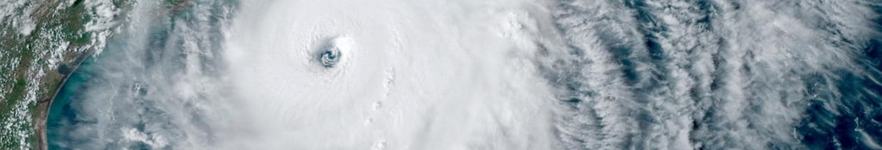 Satellite image of the eye of the storm as Hurricane Laura travels across the Gulf of Mexico towards the United States