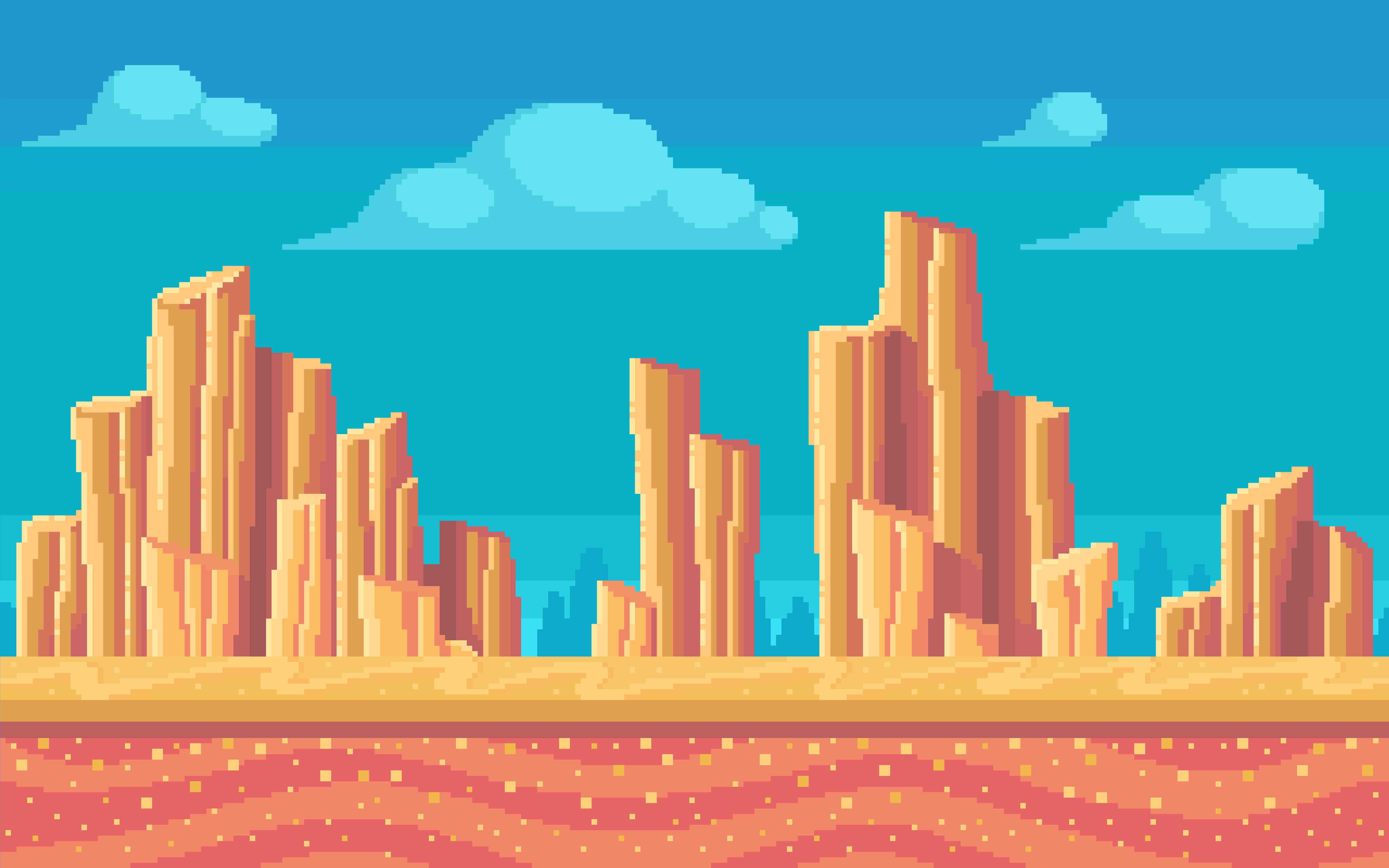 montagem de deserto pixelizada como em video games retrô