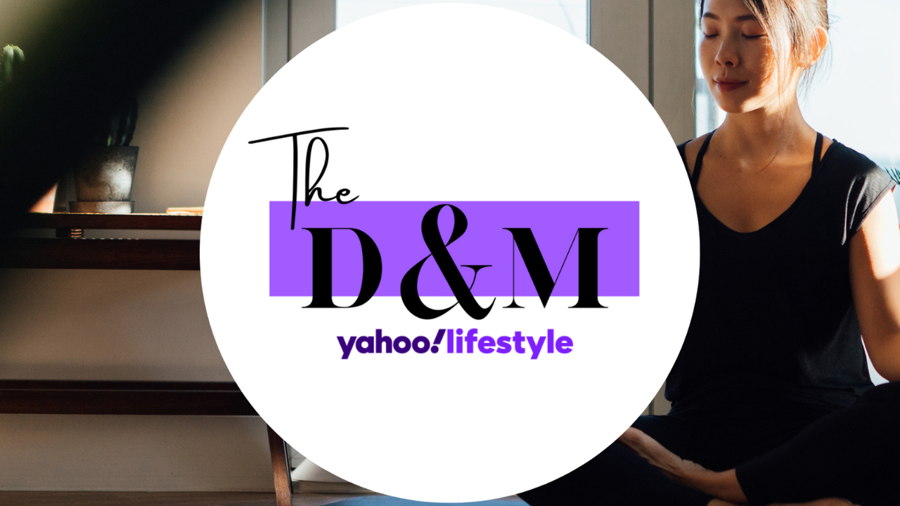 Woman meditating with D&M logo above