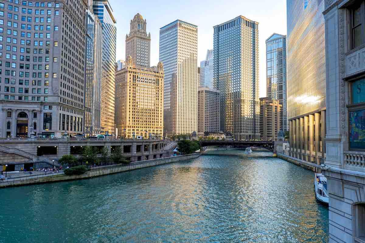 Foto do centro financeiro de Chicago.