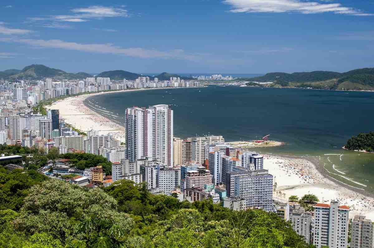 Foto aérea da Praia de Santos.
