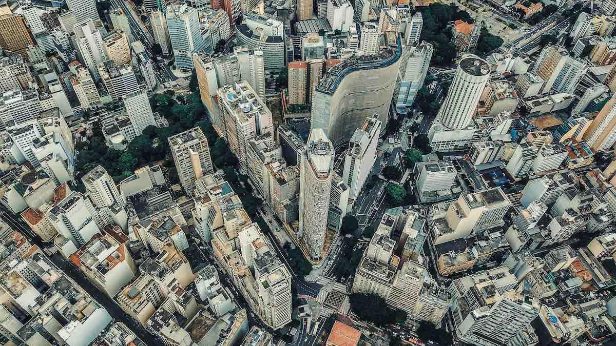 Foto aérea do centro de São Paulo, capital.