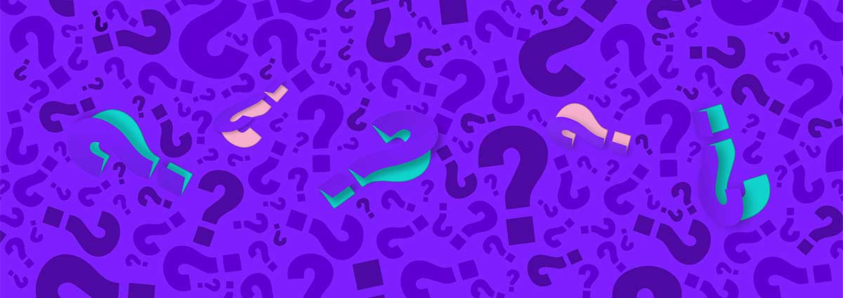 Quiz questions A picture of questions marks on a purple background